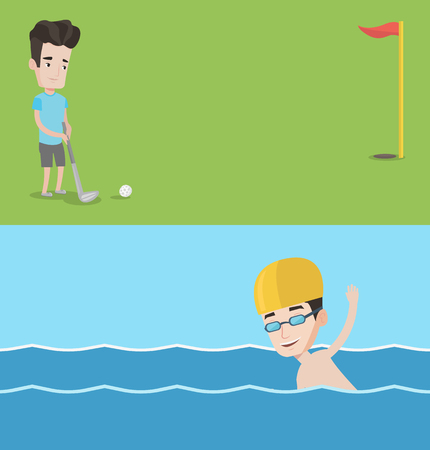 Two sport banners with space for text. Vector flat design. Horizontal layout. Golfer hitting the ball. Professional golfer on golf course. Young man playing golf. Young sportsman swimming in pool. Ilustração