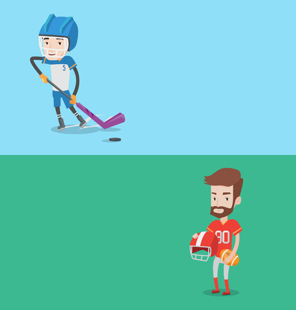 ice hockey player: Two sport banners with space for text. Vector flat design. Horizontal layout. Ice hockey player skating on ice rink. Ice hockey player with a stick. Man playing ice hockey. Rugby player holding ball.