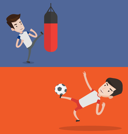 Two sport banners with space for text. Vector flat design. Horizontal layout. Young soccer player kicking ball during game. Soccer player juggling with a ball. Football player playing with soccer ball