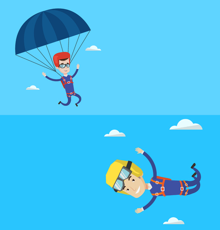 descending: Two sport banners with space for text. Vector flat design. Horizontal layout. Man flying with a parachute. Young man paragliding on a parachute. Professional parachutist descending with a parachute.
