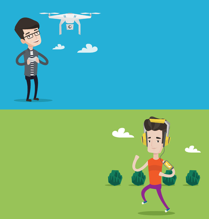 Two technology banners with space for text. Vector flat design. Horizontal layout. Man flying drone with remote control. Man operating a drone with remote control. Man controling a drone.