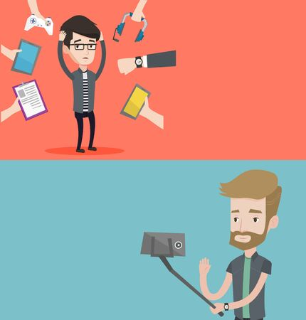 Two technology banners with space for text. Vector flat design. Horizontal layout. Man making selfie with a selfie-stick. Man making selfie with cellphone. Young man taking selfie and waving his hand.