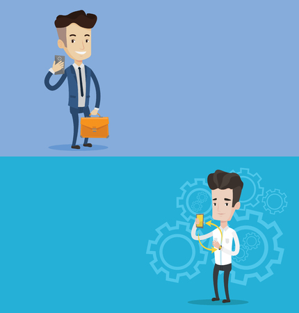 Two technology banners with space for text. Vector flat design. Horizontal layout. Young man showing his smartphone and smart watch. Concept of synchronization between smartwatch and smartphone. Illustration