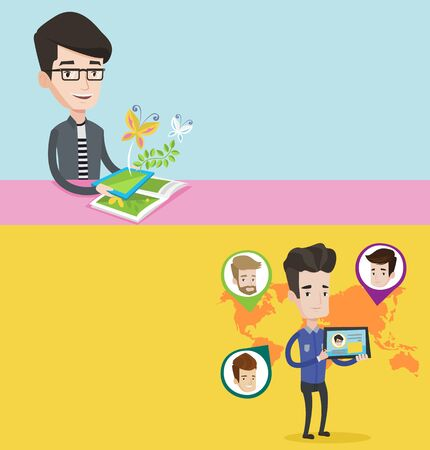 touchpad: Two technology banners with space for text. Vector flat design. Horizontal layout. Man holding tablet computer with social network. Man standing on the background of world map with social network.