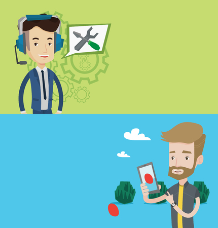 headset: Two technology banners with space for text. Vector flat design. Horizontal layout. Man playing action game on smartphone. Man playing with mobile phone outdoor. Man using smartphone for playing games. Illustration