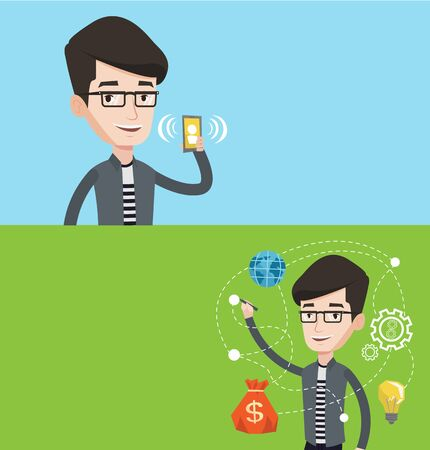 vibrating: Two technology banners with space for text. Vector flat design. Horizontal layout.  Businessman writing on a virtual screen. Young businessman drawing business plan on a virtual screen.
