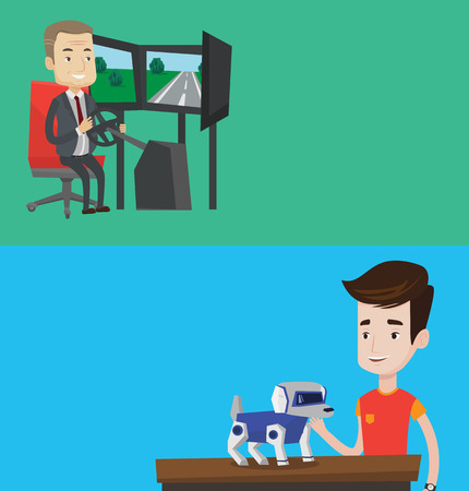 stroking: Two technology banners with space for text. Vector flat design. Horizontal layout. Man playing with a robotic dog. Smiling man standing near the table with cyber dog on it. Man stroking a robotic dog. Illustration