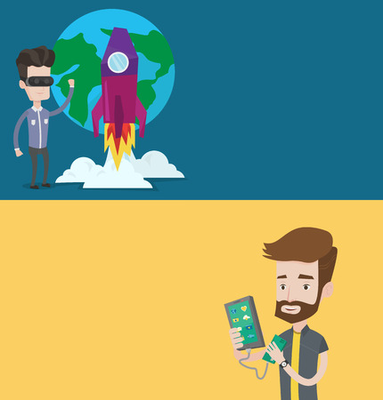 Two technology banners with space for text. Vector flat design. Horizontal layout. Man recharging his smartphone with mobile phone portable battery. Man holding a mobile phone and battery power bank.