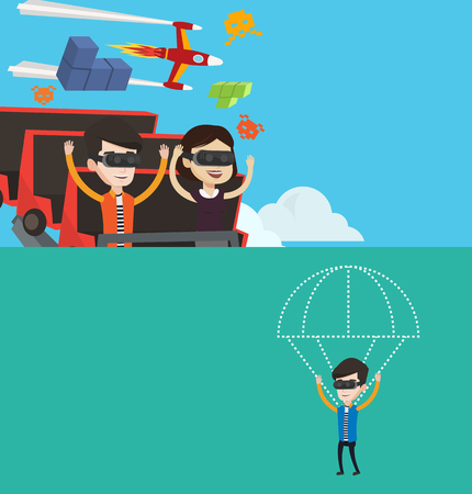 having fun: Two technology banners with space for text. Vector flat design. Horizontal layout. Couple in vr headset riding on roller coaster. Man and woman in vr glasses having fun in virtual amusement park. Illustration