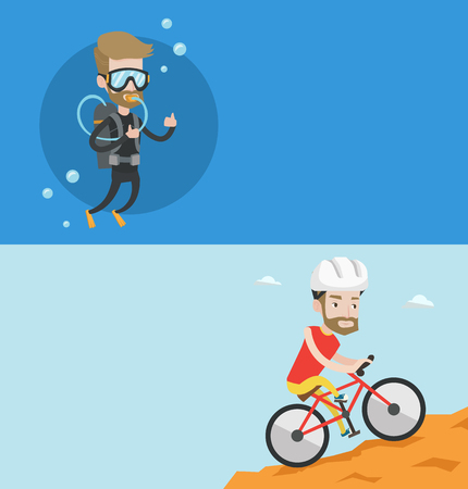 Two travel banners with space for text. Vector flat design. Horizontal layout. Extreme hipster man riding on mountain bike. Young caucasian man in helmet traveling in the mountains on mountain bicycle