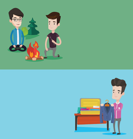 suitcase packing: Two travel banners with space for text. Vector flat design. Horizontal layout. Young businessman packing his clothes in an opened suitcase. Smiling caucasian businessman putting a suit into a suitcase