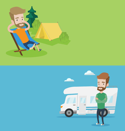caucasians: Two travel banners with space for text. Vector flat design. Horizontal layout. Hipster man sitting in a folding chair in the camp. Caucasian man relaxing in camp. Man enjoying his camping holiday.
