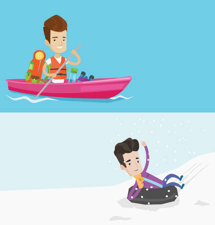 rubber tube: Two travel banners with space for text. Vector flat design. Horizontal layout. Cheerful man traveling by kayak. Young man having fun on a snowy day while sledding on snow rubber tube in the mountains.