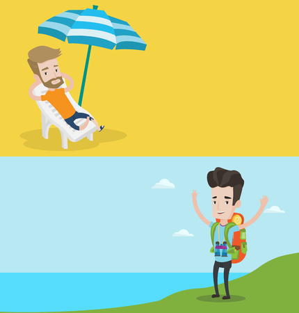 Two travel banners with space for text. Vector flat design. Horizontal layout. Man sitting in a chaise longue on the beach. Young happy man resting on holiday while sitting under umbrella on the beach
