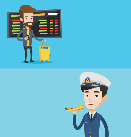 airline pilot: Two transportation banners with space for text. Vector flat design. Horizontal layout. Young airline pilot holding a model airplane in hand. Cheerful airline pilot in uniform. Smiling confident pilot.