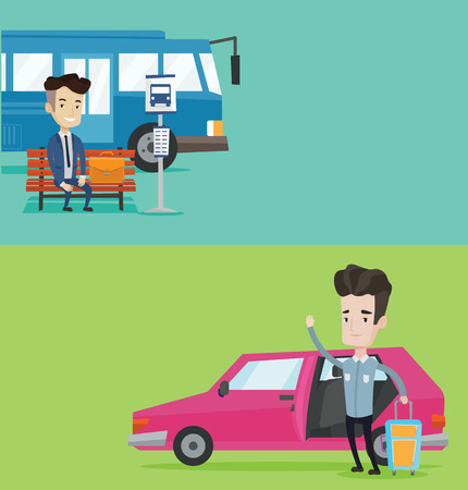 open car door: Two transportation banners with space for text. Vector flat design. Horizontal layout. Man with suitcase standing in front of car with open door. Man traveling by car. Man waving in front of car. Illustration