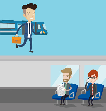 going out: Two transportation banners with space for text. Vector flat design. Horizontal layout. Caucasian businessman walking on the train platform. Man going out of train. Businessman at the train station.