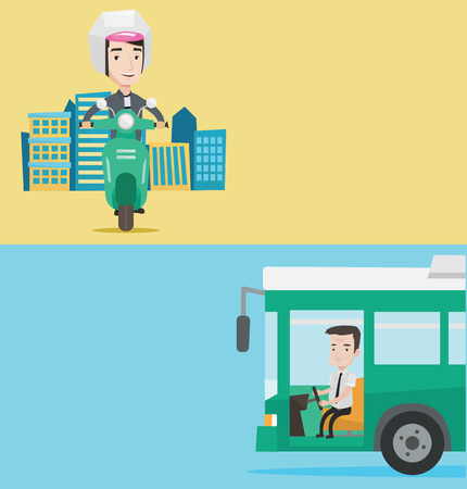Two transportation banners with space for text. Vector flat design. Horizontal layout. An adult bus driver sitting at steering wheel. Bus driver driving passenger bus. Bus driver driving intercity bus