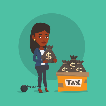 taxpayer: Chained to a ball female taxpayer standing near bags with taxes. Upset female taxpayer holding bag with dollar sign. Concept of tax time and taxpayer. Vector flat design illustration. Square layout.