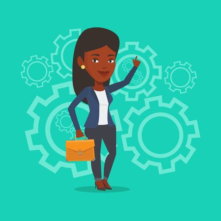 woman pointing up: An african-american businesswoman pointing finger up because she came up with business idea. Business woman having business idea. Business idea concept. Vector flat design illustration. Square layout