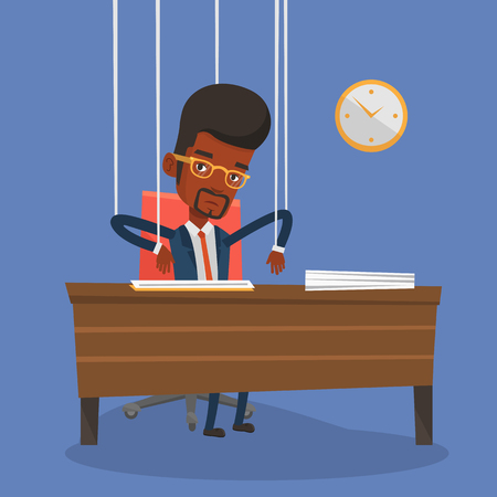 marionette: African-american businessman hanging on strings like a marionette. Businessman marionette on ropes sitting in office. Emotionless marionette man working. Vector flat design illustration. Square layout