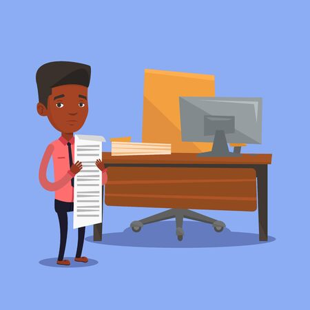 An african-american businessman standing in office with long bill in hands. Disappointed businessman holding long bill. Businessman looking at long bill. Vector flat design illustration. Square layout