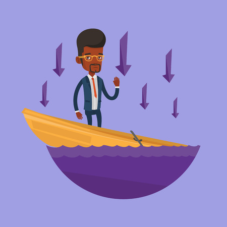 Businessman standing in sinking boat and asking for help. Businessman sinking and arrows behind him pointing down symbolizing business bankruptcy. Vector flat design illustration. Square layout.