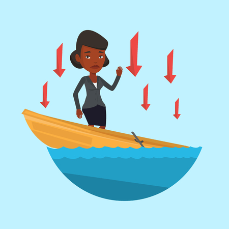 leaking: Business woman standing in sinking boat and asking for help. Business woman sinking and arrows behind her pointing down symbolizing business bankruptcy. Vector flat design illustration. Square layout.