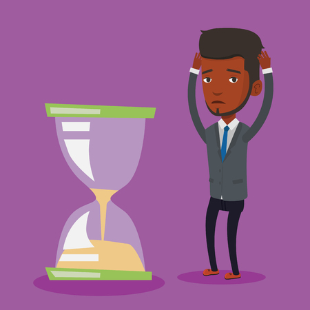 about: An african-american businessman looking at hourglass symbolizing deadline. Man worrying about deadline terms. Time management and deadline concept. Vector flat design illustration. Square layout.