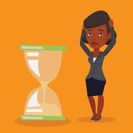 worrying: An african-american business woman looking at hourglass symbolizing deadline. Woman worrying about deadline terms. Time management and deadline concept. Vector flat design illustration. Square layout.
