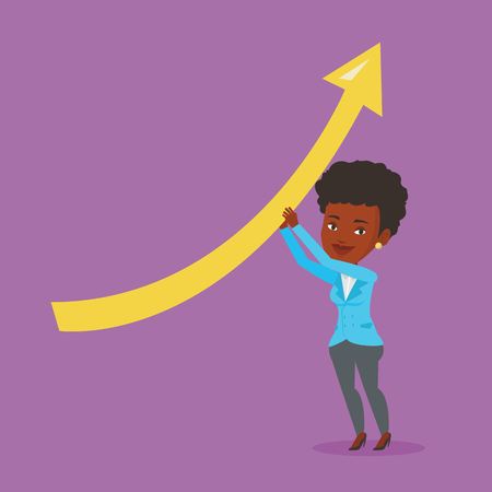 Young african-american business woman holding arrow going up. Successful business woman changing the path of an arrow to a positive increase. Vector flat design illustration. Square layout.