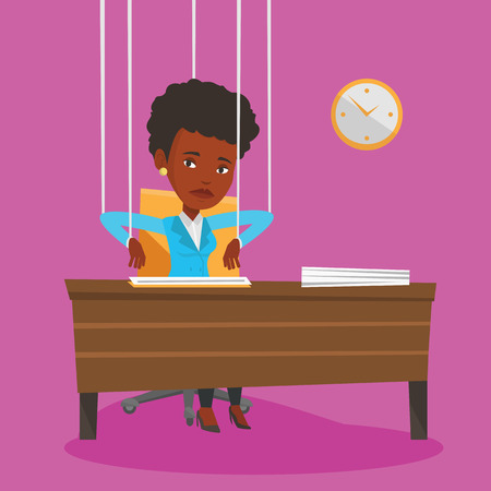 marionette: African business woman hanging on strings like a marionette. Business woman marionette on ropes sitting in office. Emotionless marionette woman working. Vector flat design illustration. Square layout.