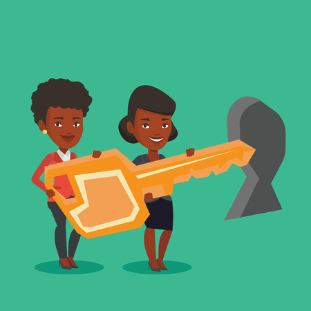 African-american business women standing in front of a keyhole with big key. Business team holding the key to success. Two business women carrying key. Vector flat design illustration. Square layout. Illustration