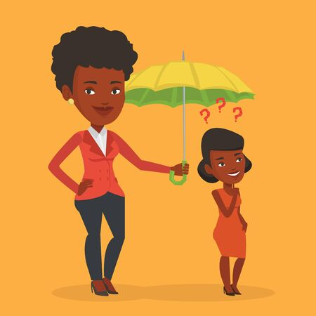 Insurance agent holding umbrella over woman. An african woman standing under umbrella and question marks. Concept of insurance. Vector flat design illustration in the circle isolated on background. Illustration