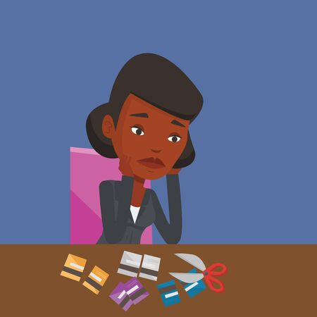 An african-american business woman cutting credit card. Woman sitting at the desk with cut credit card. Business woman cutting credit card with scissors. Vector flat design illustration. Square layout