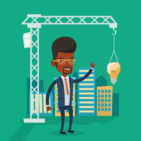 town planning: Young african-american man pointing at light bulb hanging on crane. Architect having idea in town planning. Concept of new ideas in architecture. Vector flat design illustration. Square layout. Illustration