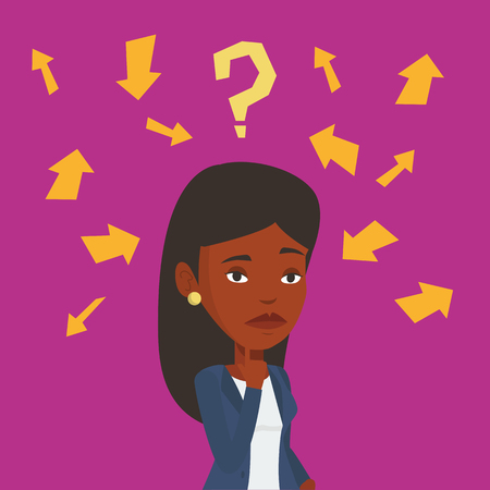 african woman at work: An african-american business woman thinking under question mark and arrows. Thoughtful business woman with question mark. Business thinking concept. Vector flat design illustration. Square layout.
