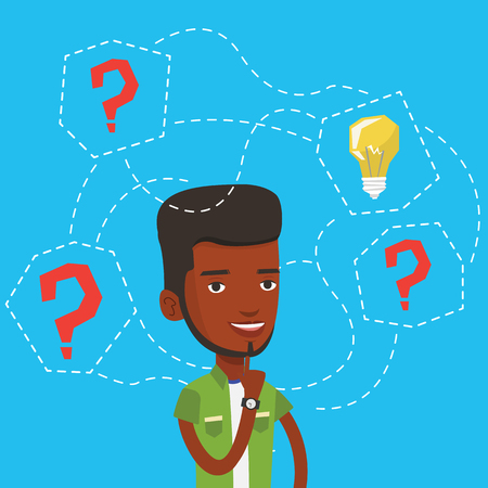 black man thinking: An african-american man having business idea. Businessman standing with question marks and idea light bulb above his head. Business idea concept. Vector flat design illustration. Square layout.