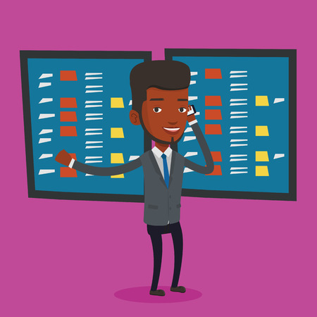 stockbroker: An excited businessman talking on mobile phone on the background of display of stock market quotes. An african-american stockbroker at stock exchange. Vector flat design illustration. Square layout. Illustration