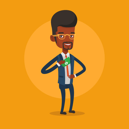 putting money in pocket: An african-american businessman putting money bribe in his pocket. Businessman hiding money bribe in jacket pocket. Bribery and corruption concept. Vector flat design illustration. Square layout.