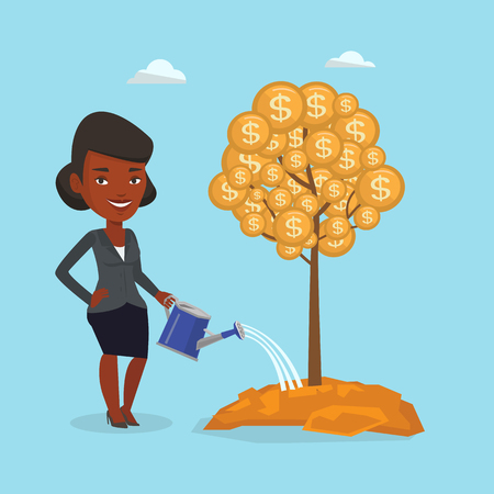 An african-american business woman watering financial tree. Business woman investing in future financial safety. Business woman taking care of finances. Vector flat design illustration. Square layout.