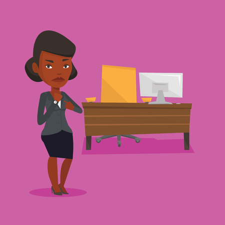 lateness: An angry african-american employer pointing at time on her wrist watch. Boss checking time of coming of latecomer employee. Concept of late to work. Vector flat design illustration. Square layout.