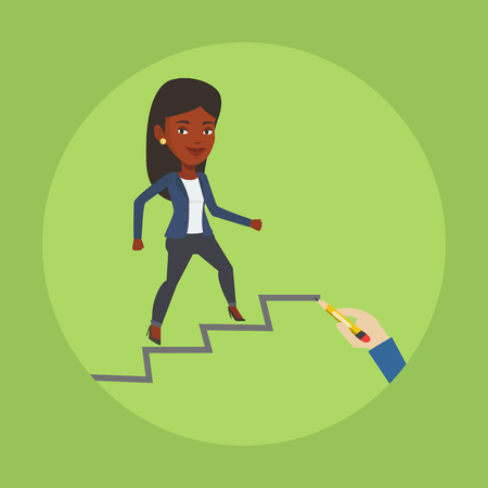 career ladder: An african-american woman running up the career ladder drawn by hand with pencil. Business woman climbing the career ladder. Concept of business career. Vector flat design illustration. Square layout
