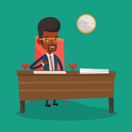 subscribing: An african-american businessman signing contract in office. Man is about to sign a business contract. Confirmation of transaction by signing of contract. Vector flat design illustration. Square layout