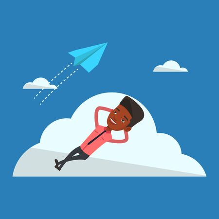 flying paper: Businessman lying on a cloud and looking at flying paper plane. An african-american businessman relaxing on a cloud. Businessman resting on a cloud. Vector flat design illustration. Square layout. Illustration