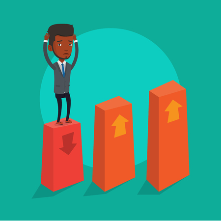 moneyless: An african-american frightened bankrupt businessman clutching his head. Young bankrupt standing on chart going down. Concept of business bankruptcy. Vector flat design illustration. Square layout.