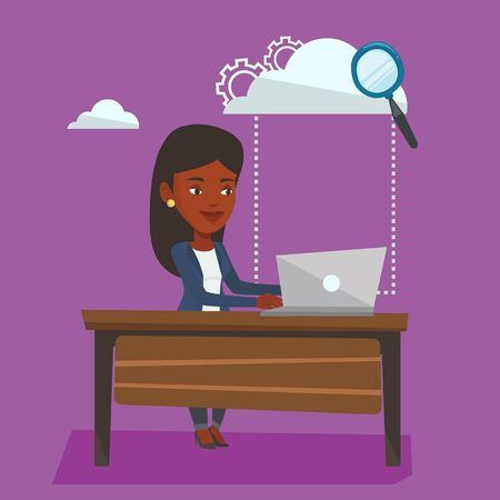 cloud computing technologies: Young business woman working on laptop under cloud. An african-american business woman using cloud computing technologies. Cloud computing concept. Vector flat design illustration. Square layout. Illustration