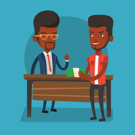bribery: An african-american young businessman giving a bribe. Uncorrupted businessman refusing to take a bribe. Bribery and corruption concept. Vector flat design illustration. Square layout.