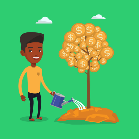 An african-american businessman watering financial tree. Young businessman investing in future financial safety. Businessman taking care of finances. Vector flat design illustration. Square layout.