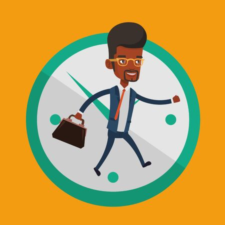Busy african-american businessman running on the background with clock. Busy businessman in a hurry. Concept of deadline and busy time. Vector flat design illustration. Square layout. Illustration